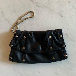 Henri Bendel black leather clutch wristlet, used